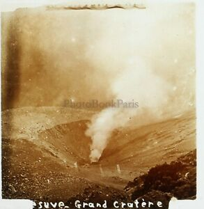 Vesuvio Italia Foto Stereo PL59L1n62 Placca Da Lente Vintage c1910