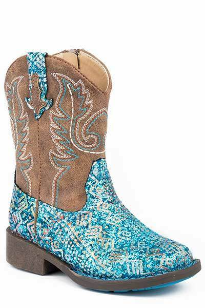 Roper TODDLER Kids Girls bluee Glitter Aztec Print Brown Leather  Zip Cowboy Boots  hot