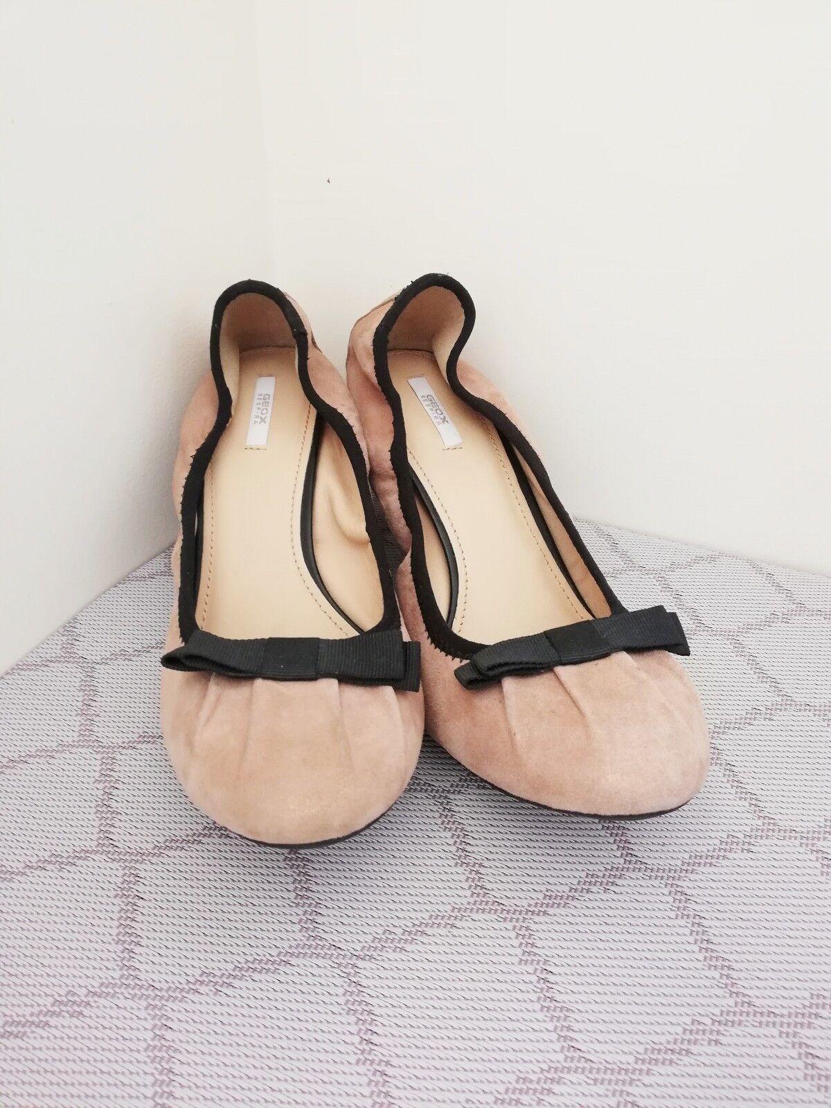 GEOX RESPIRA Nude Pink Court Leder Sparkle Bow Detail Court Pink Schuhes Sze EU39 UK6 US8.5 654792
