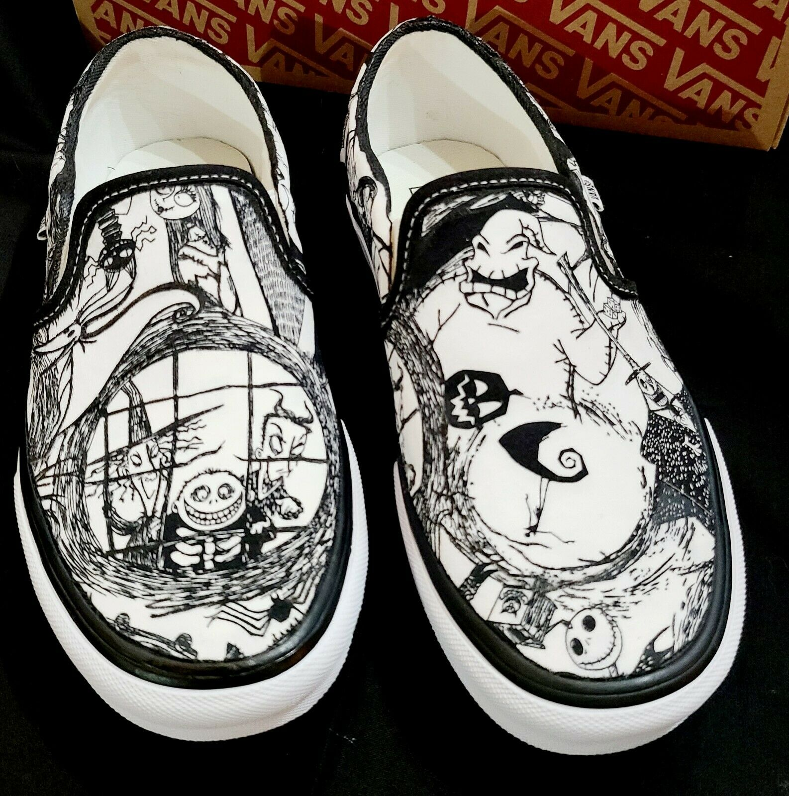 VANS Nightmare Before Christmas Shoes Hand Detailed Women's