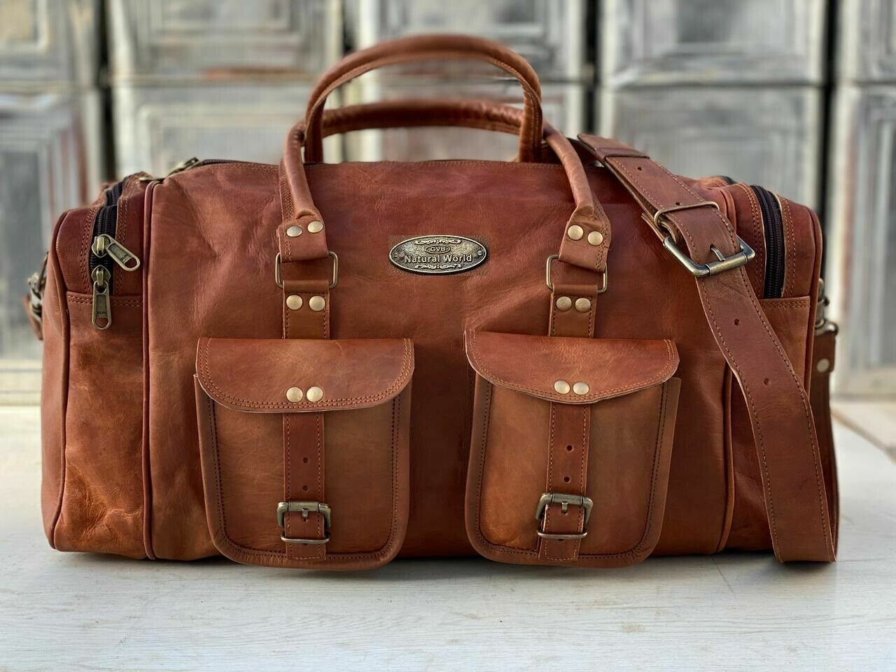 Vintage Duffle Travel Weekend Overnight Bag ( Small To X Large) Men's Leather