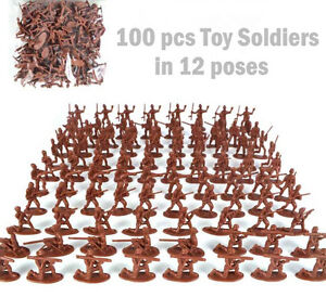 100-pcs-Military-Plastic-Toy-Soldiers-Army-Men-Red-1-72-Figures-12-Poses