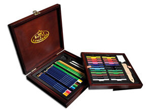Artists-Deluxe-Drawing-Set-Wooden-Box-49-Piece-Colour-Pencil-Sketch-Gift-DRW1600