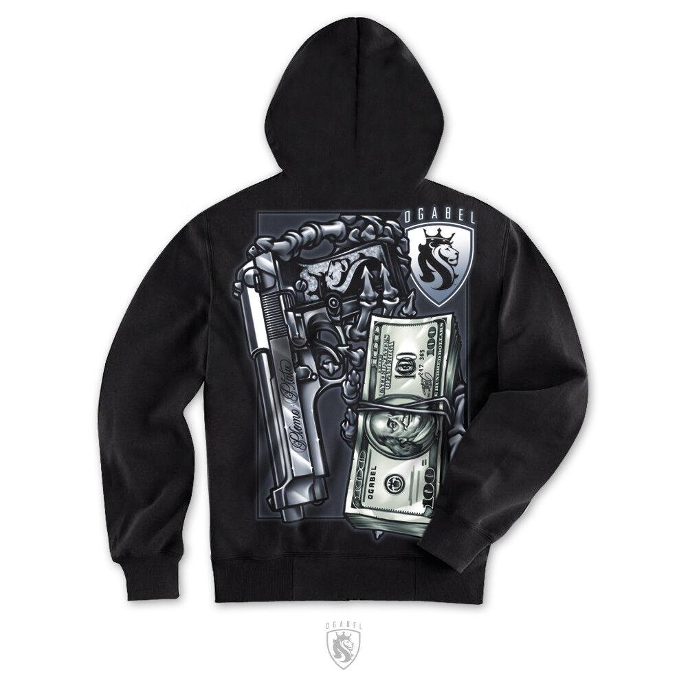 OG Abel OGAbel Plomo Plata Money Skeleton Skull Gun Adult  Herren Hoodie AH065