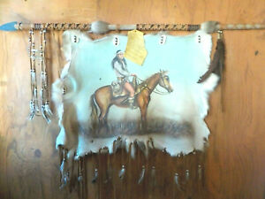 Authentic-Native-American-Painted-Fur-Hide-Art-Signed-by-Artist