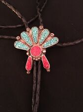 Vintage Old Pawn Native American Sterling Turquoise Coral Bolo Tie ...Bennett
