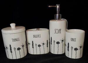 Rae Dunn Bathroom Set Black Flowers Rinse Soap Brushes