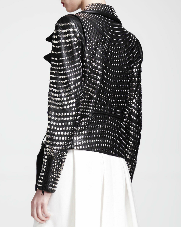 Black Women Leather Jacket Silver Studded Heavy Metal R