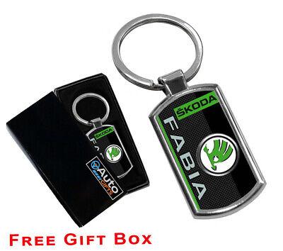 Skoda Brand Keyring UK Seller Black Silver Key Ring Premium Quality