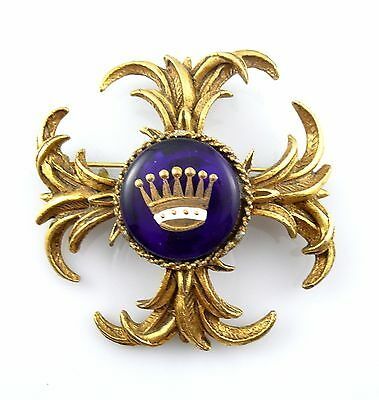 BIG Vintage 1950s 60s Ornate Heraldic Crown Design Goldtone & Glass Brooch PIN