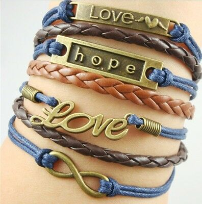 NEW Hot Infinity Love Anchor Leather Cute Charm Bracelet Bronze DIY SL209