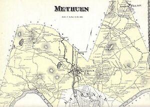 Methuen Ma Zip Code Map.1872 Methuen Ma Map Essex County Mass Not A Reprint Ebay