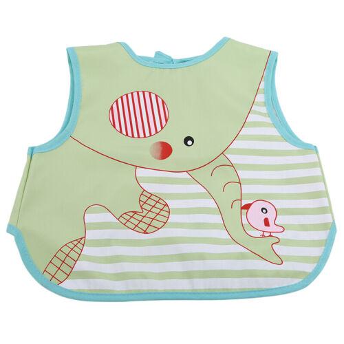 Baby Feeding Smock Plastic Kid Waterproof Feeding Smock Sleeveless Apron Bibs CB