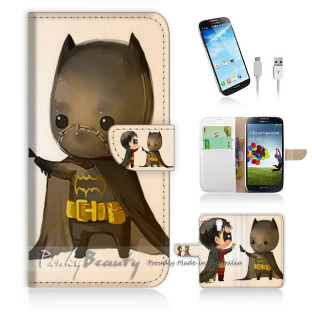 ( For Samsung S4 ) Wallet Case Cover! Cute Batman and Robin P0031