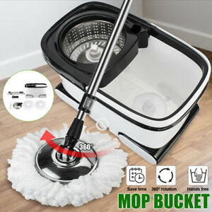 360-Spin-Rotating-Spin-Mop-Stainless-Steel-Bucket-Microfiber-With-2-Mop-Heads-US