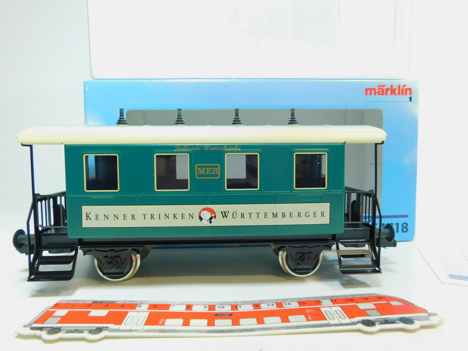 BO264-2Märklin Maxi 1   Ac 54718 Passenger Car Weinschänke Illuminated, Nip