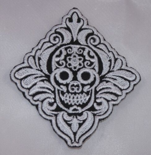 Embroidered White and Black Retro Boho Sugar Skull Applique Jacket Patch Iron On