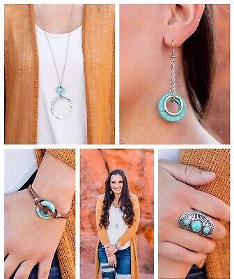 Paparazzi jewelry Simply Santa Fe Turquoise Stone Hammered ...