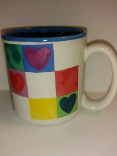Vintage 1991 Joanne Fink Janet Hoftberg Potpourri Press Coffee Mug Hearts Blue W
