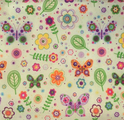Por F//Q 1//2 metros Mariposas Tela Polycotton Floral Jardín De Verano empavesado Coser