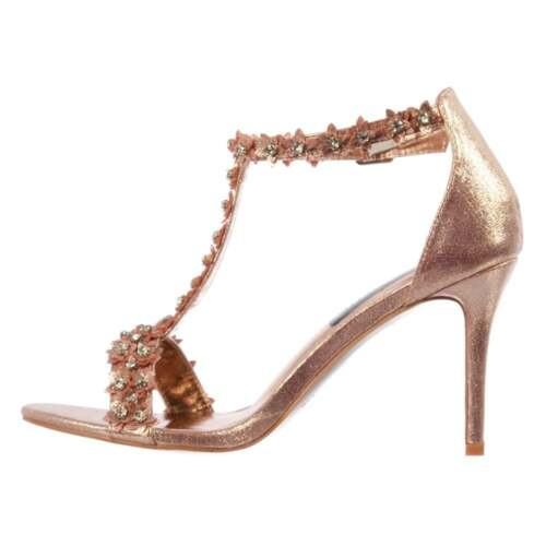 Ladies Diamante and Flower Strappy Heeled Sandal Party Wedding Shoe Gold Silver