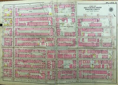 Printed in 1900 by Hyde /& Co Harlem River to Morris Guaranteed Original Huge Antique Map of Bronx NY Mott Haven from E 138th to E 149th