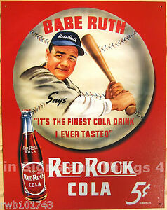 Red-Rock-Cola-5-Babe-Ruth-TIN-SIGN-vtg-metal-wall-decor-soda-ad-baseball-149