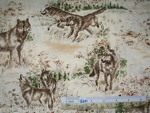 Wolf-jungle-native-animal-cotton-quilting-fabric-Choose-design-amp-size