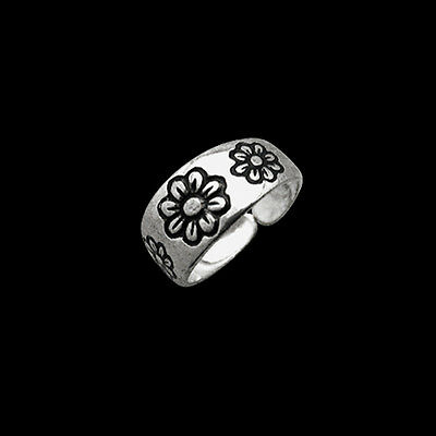 6mm Floral Pattern Band Motif Silver Plated Ladies Toe Ring Black Enamel Inlay