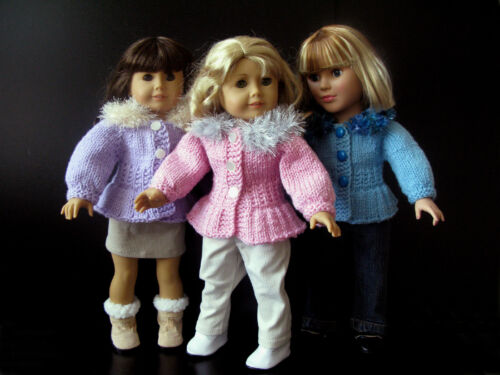 """18/"""" DOLL clothes hand knitting pattern sweater dress coat hat for AG or similar"""
