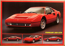 (PRL) 1986 FERRARI 328 GTB GTS AUTO STORICA CAR VINTAGE AFFICHE PRINT CAR POSTER