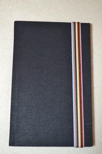 Paul Smith Black Hardback Linen Pocketbook With Striped Elasticated Marker New