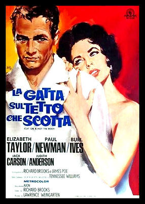 """""""Cat on a Hot Tin Roof"""" Italian Magnetic 6x8 Movie Poster FRIDGE MAGNET"""