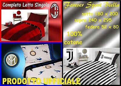 JUVENTUS Singolo Completo letto in 100/% Cotone MILAN ROMA Lenzuola INTER