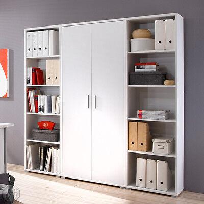 Büromöbel Office Line Arbeitszimmer Aktenschrank in weiß mit Regalen