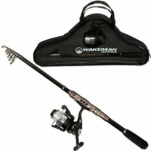 Telescopic Carbon Fiber and Steel Rod and Reel Combo 86 Inches with Case