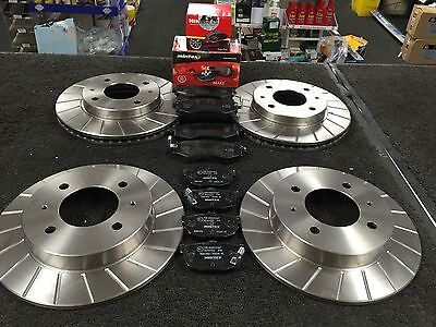 FOR HYUNDAI COUPE 1996-2002 PERFORMANCE GROOVED BRAKE DISCS MINTEX PADS FR RR