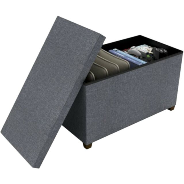 "NEW dar Living Storage Ottoman Gray 17x34"" coffee table bench seat chest hidden"