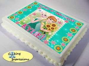Elsa Edible Cake Decoration : Frozen Fever Edible Image Cake Topper Party Decoration ...