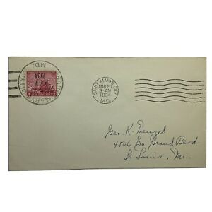 1934-SAINT-MARY-039-S-CITY-MARYLAND-WITH-LARGE-SON-CANCEL-ON-STAMP-SENT-TO-ST-LOUIS
