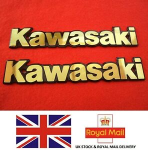 Kawasaki Emblem Badge Fuel Tank Decal Badges Gold X 2 Uk Stock Ebay