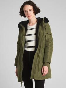 Details about NWT Gap ColdControl Faux Fur Parka, Army Jacket Green, sz M Medium