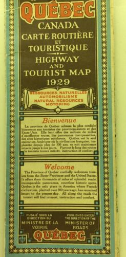 1929 Quebec Canada Highway And Tourist Map
