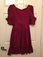 Lace Garden Red Fit And Flare Peasant Dress Gothic Steampunk Size M