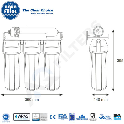 Aquafilter 4 stage under-counter water system filter with UF membrane FP3-HJ-K1