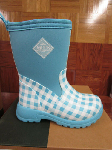 Muck Kid/'s Blue Gingham Breezy Mid Insulated Rain Snow Boots kids size 11