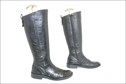 Kickers Black Leather Boots Tips Round T 39 Top Co