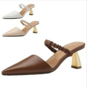 Women Ladies Fashion Cut Out Pointed Toe Slip On Kitten Heel Mules Shoes Comfy D