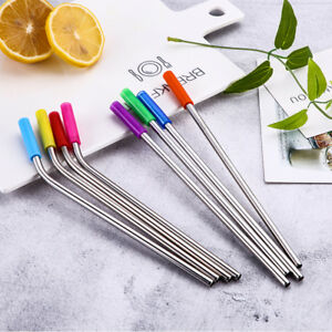 4x-Stainless-Steel-Straight-Bend-Straw-Reusable-With-Silicone-Tips-Clean-Brush