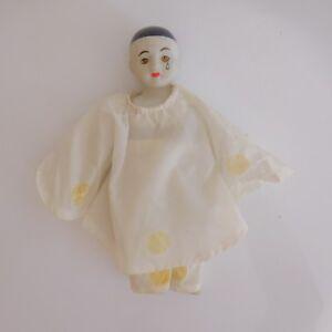 Poupee-poupon-artiste-Pierrot-fait-main-ceramique-nylon-vintage-XXe-PN-France